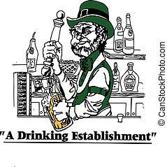 Irish Barteneder Pub - Irish bartender pouring beer in front...