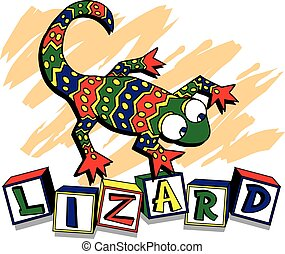 Juvenile Lizard with the word lizard spelled out in blocks...