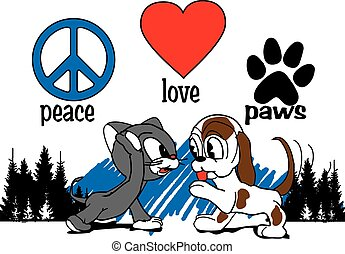 Peace-love-paws - cat and dog hi five paws with peace sign...