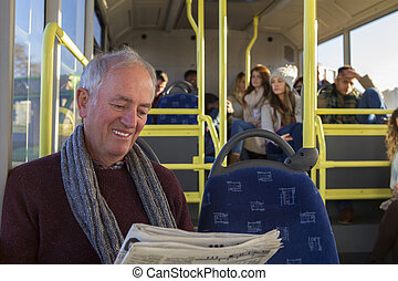 Senior man on the bus