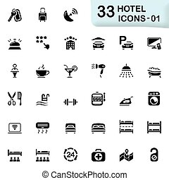 Hotel icons - Hotel vector icons for mobile phone interface...