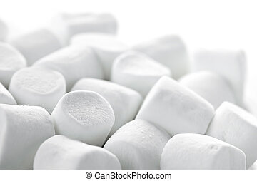 Marshmallows - Close up of many plump sweet marshmallows