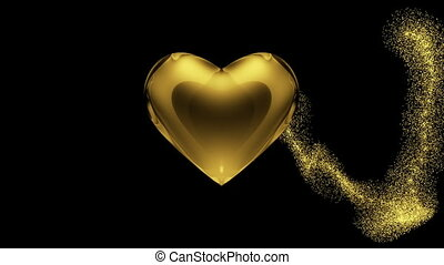 Heart in gold on black