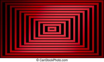 Abstract red square lines on black