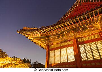 edificio, corea, Seúl,  -, tradicional, república, asiático, noche