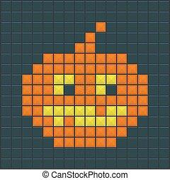 Halloween7 - Halloween Pumpkin. Old Game design. Vector...