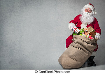 Santa Claus with a bag of presents