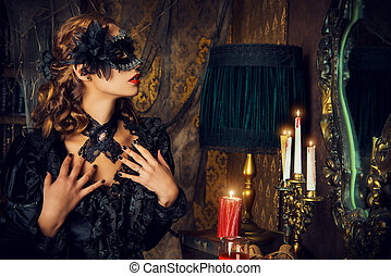 lady immortal - Charming mysterious girl in black mask and...