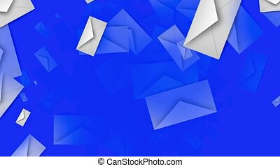 Envelopes in white on blue