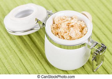 Garlic Salt - Sea salt infused with garlic in a jar.