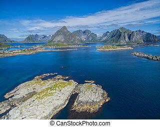 Lofoten islands - Picturesque fishing village Reine on...