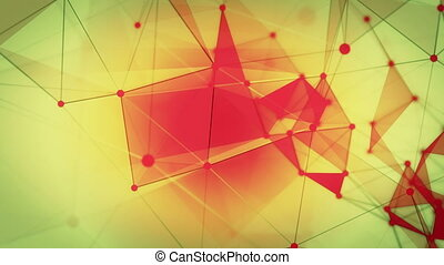 Abstract lines with triangles in red and yellow
