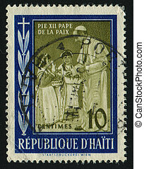 postmark - HAITI - CIRCA 1959: Pope Pius XII and Children,...