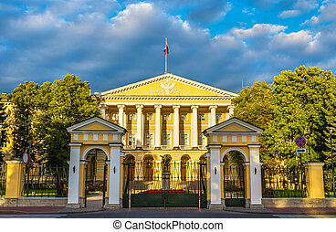 Smolny Institute, a Palladian edifice in St Petersburg,...