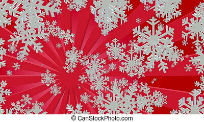 Flying snowflakes in white with sunburst on red