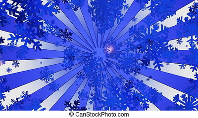 Flying snowflakes with sunburst in blue
