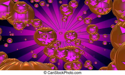 Flying pumpkin heads with sunburst in purple color