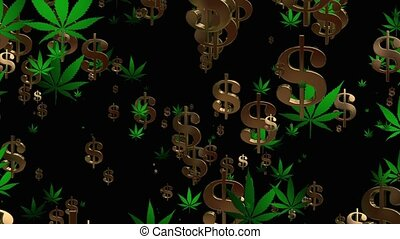 Flying USA dollar signs and cannabis leafs in green on black...