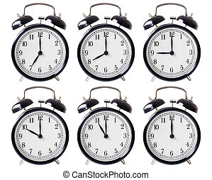 alarm clock set with hands from 7 to 12 oclock - simple...