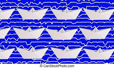 Paper boats in white on blue