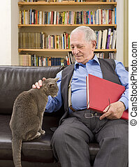 senior man and cat - senior man with book at home caressing...
