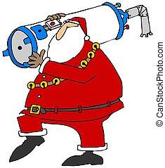 Santa carrying a water heater - Illustration depicting Santa...