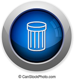 Trash button - Blue glossy trash web button