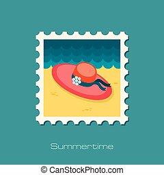 Beach hat flat stamp, vector illustration eps 10