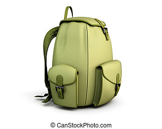 Travel backpack isolated on white background 3d illustration...