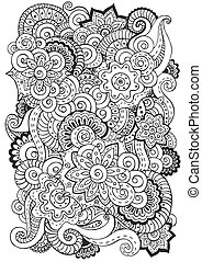 Doodle background in vector with doodles, flowers and...