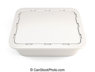 Template white plastic container for food clipping path 3d...