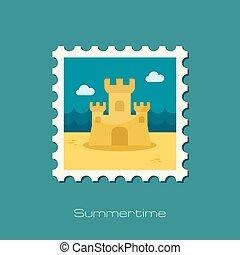Sand Castle flat stamp, vector illustration eps 10