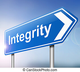 Integrity concept. - Illustration depicting a sign with an...