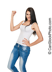 Lucky woman over white background - Successful young female...