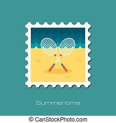 Badminton Racket flat stamp