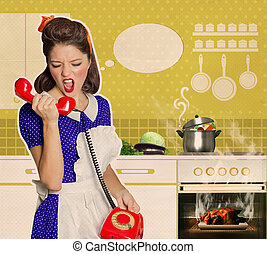 Angry housewife shouting on the phone in the kitchenRetro...