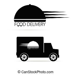 food delivery vehicle black vector
