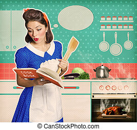 Young attractive housewife overlooked roast chicken in an...