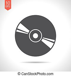 Compact disc icon - Vector flat black compact disc icon on...