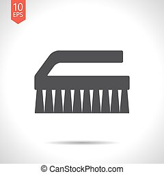 Cleaning brush - Vector flat black cleaning brush icon on...