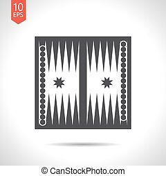Sport illustration - Vector flat black backgammon table with...
