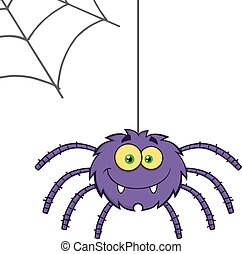 Purple Halloween Spider - Smiling Purple Halloween Spider...