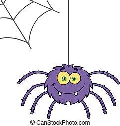 Purple Halloween Spider - Smiling Purple Halloween Spider...