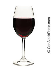 Red wine in glass - Red wine in wineglass isolated on white...