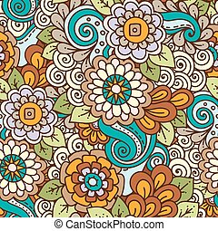 Seamless ethnic floral doodle bright colored background pattern in vector. Henna paisley mehndi tribal doodles design.