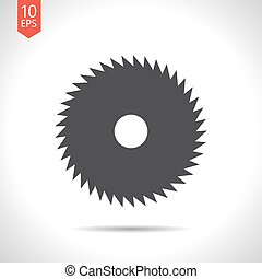 Circular Saw - Vector flat black circular saw icon on white...