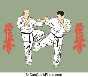 Men are engaged karate, an illustration against hieroglyphs.