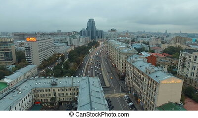 Aerial Moscow city panorama, Russia
