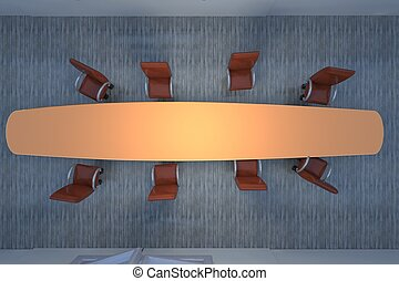 Meeting room seen from above, 3d render, horizontal image