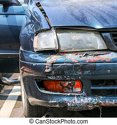 Car crash, insurance - The accident damaged cars